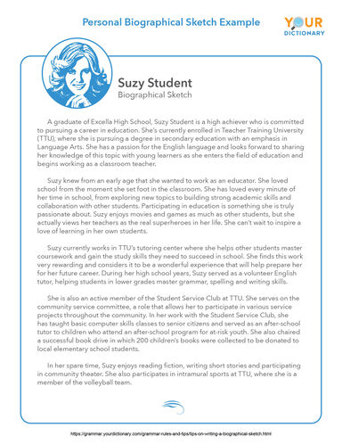 personal biographical sketch example printable