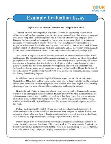 example evaluation essay example