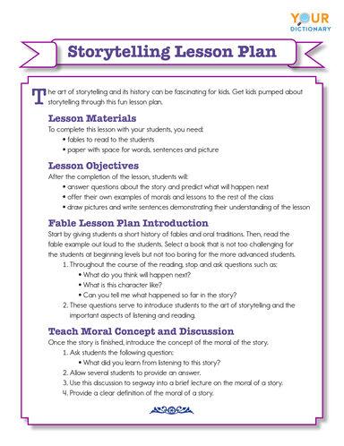 storytelling lesson plan printable