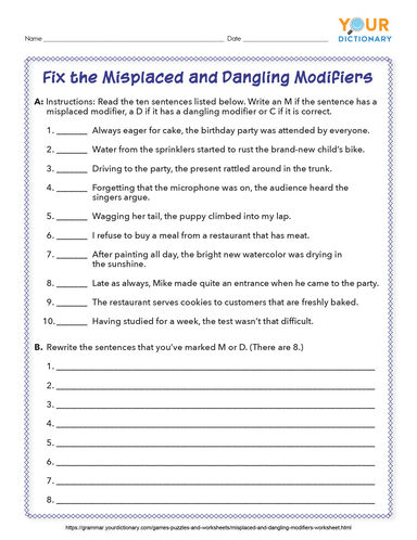 fix the misplaced and dangling modifiers worksheet