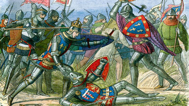 The Battle of Agincourt during Hundred Years War