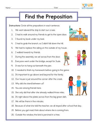 upper elementary preposition worksheet