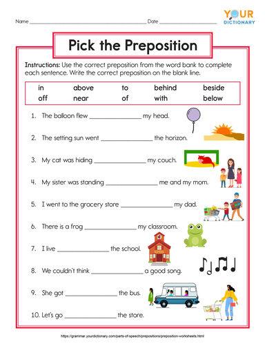 lower elementary preposition worksheet