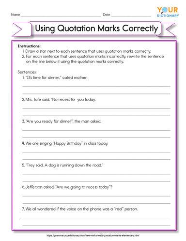 elementary using quotation marks correctly worksheet