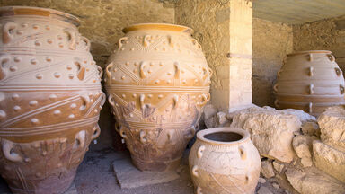 ancient pottery at Minoan Palace of Knossos, Greece