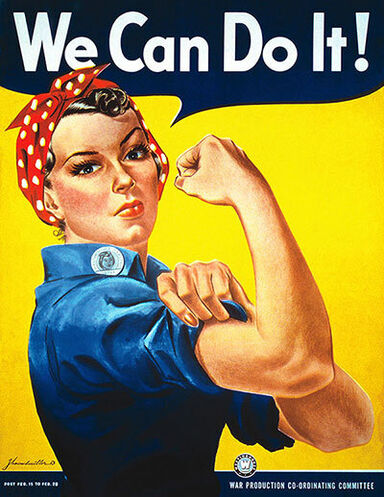 Rosie The Riveter WWII poster phrase We Can Do It!