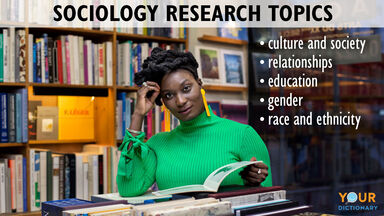 Sociology research topics with woman at library