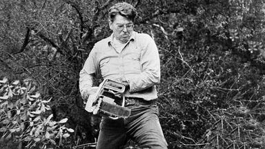 Ronald Reagan working on ranch in California