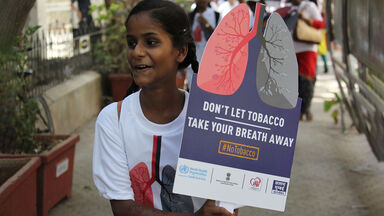 no tobacco day woman protesting