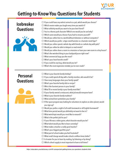 getting to know you questions for students