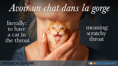 French expression idiom of cat in the throat