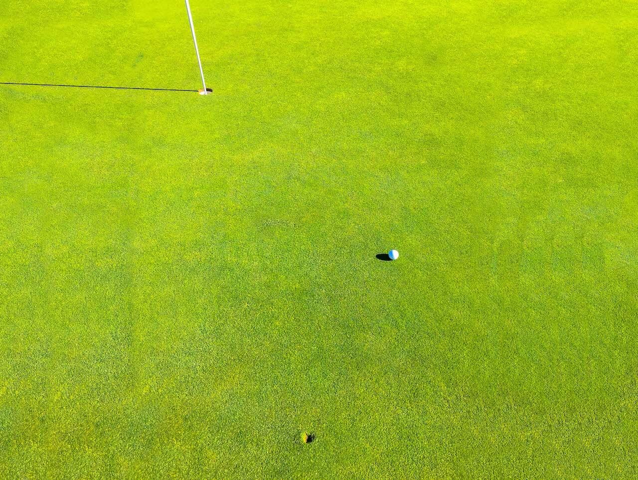 divot from golf ball near hole