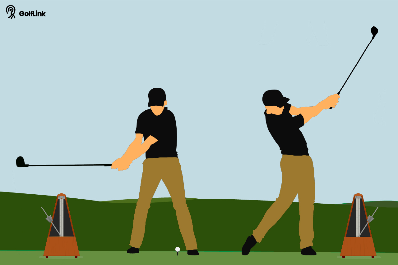 Golfer's backswing and follow through with metronome