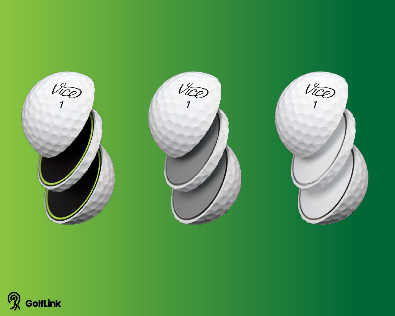 three sliced VICE golf balls